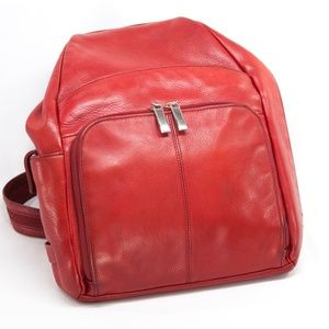 Red Leather Franklin Covey Backpack